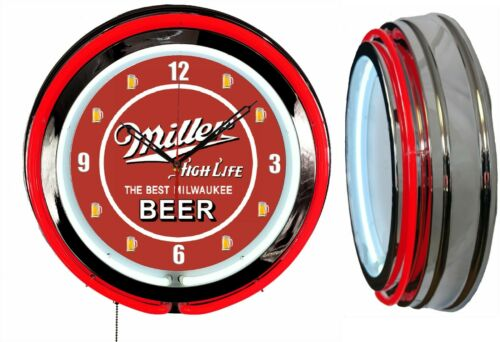 "Miller High Life Beer Milwaukee 19"" Double Neon Clock Man Cave Bar Garage Red"