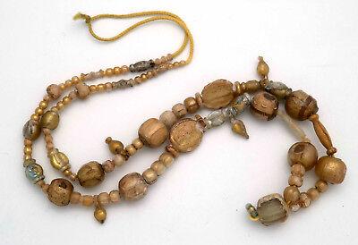 "Ancient Roman ""gold leaf sandwich"" glass bead Necklace, 1st century B.C."