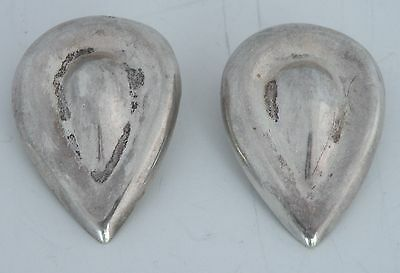 Large Vintage sterling silver clip on earrings Mexican, Mexico, Taxco tear drop