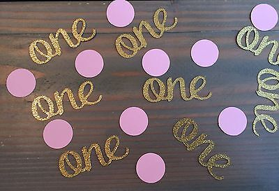 100 Baby's 1st Birthday Confetti, Gold Glitter one's And Pink Circles, Birthday