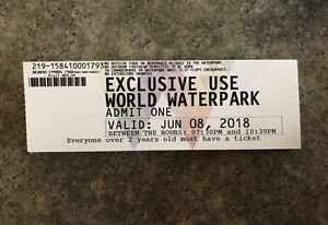 WEM Waterpark tickets for June 8th