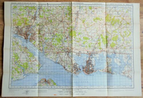 1940 WW2 British Military Map Portsmouth Southampton War Office Issue Sheet #132