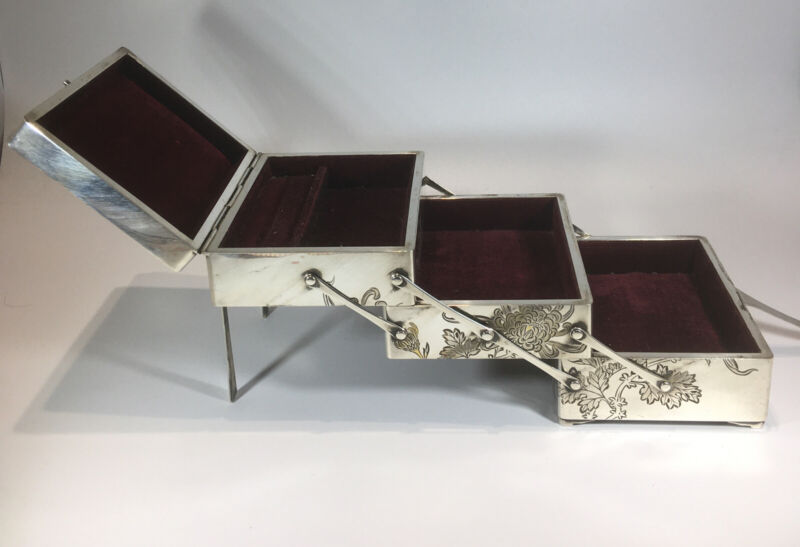 """Antique Japanese Sterling Silver 3 Tier Hinged Jewelry Box Sz 14.00"""" Butterflies"""