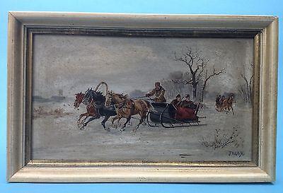 2.v2: Ölgemälde Winterlandschaft Jäger Troika J. Wolski Russland Podolien ~1900