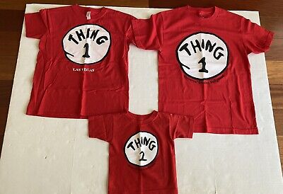 Dr. Seuss Lot of 3 Thing 1 & 2 T-shirts Family Halloween costume