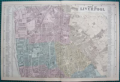 1892 LARGE VICTORIAN  TOWN PLAN-LIVERPOOL, NORTH AND SOUTH, 2 PLANS