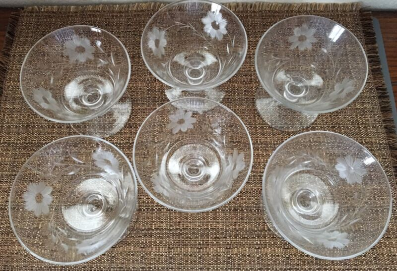 VINTAGE CUT GLASS FLORAL PATTERN FOOTED DESSERT BOWLS LOT OF 6 ~ Beautiful Set!