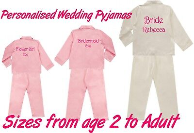 Personalised Satin Wedding Bridal Pyjamas PJ's Adult & Childrens Sizes 2 Colours