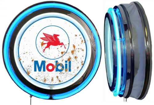 Mobil Oil Pegasus DISTRESSED Rusty LOOK Sign, Neon Sign, BLUE Neon NO Clock