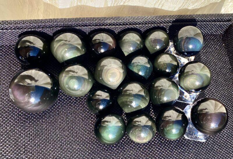 Wholesale Lot 1 Lb Natural Rainbow Obsidian Sphere Crystal Ball Energy Healing