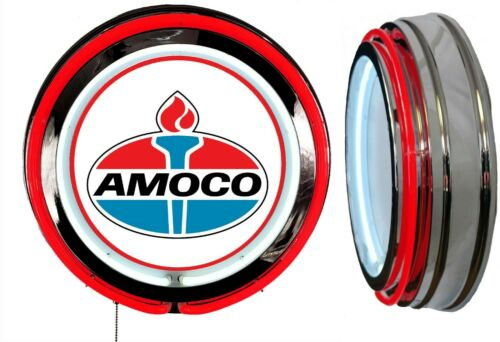 Amoco Oil Early Logo Sign, Neon Sign, Red Outside Neon, Chrome Shell, No Clock