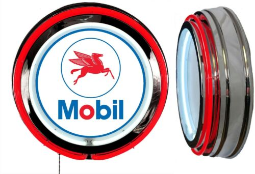 Mobil Oil Pegasus Sign, Neon Sign, RED Outside Neon, Chrome Shell, Clock Delete