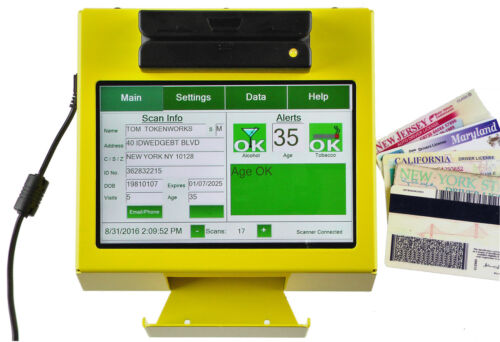 AgeVisor Touch ID Scanner - Age Verification Scanner - Yellow