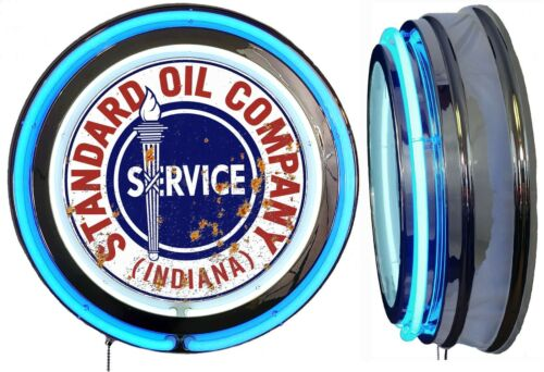 Standard Oil Indiana DISTRESSED Rusty LOOK Sign, Neon Sign, Blue Neon No Clock
