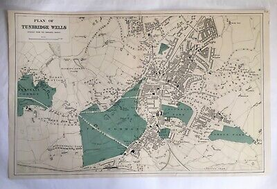 LARGE ORIGINAL ANTIQUE MAP OF TUNBRIDGE WELLS C1881 BY G BACON