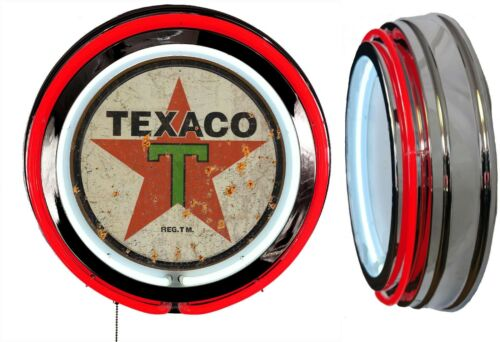 Texaco Oil Distressed Rusty Look Logo Sign Neon Sign RED Outside Neon No Clock