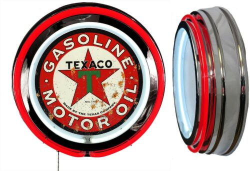 Texaco Gasoline Motor Oil DISTRESSED Rusty LOOK Sign Neon Sign RED Neon No Clock