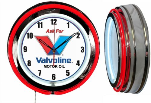 "Ask for Valvoline 19"" Double Neon Clock Red Neon Man Cave Garage Motor Oil Shop"