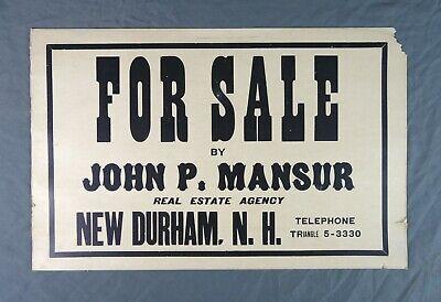 Vintage Antique Original Cardboard Sign Real Estate Realtor For Sale Durham NH