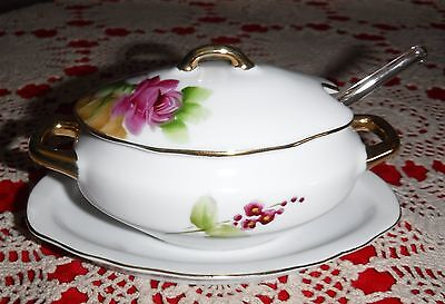 (LEFTON CHINA SUGAR OR JELLY JAM BOWL WITH LID,& GLASS SPOON  & FREE SHIPPING)