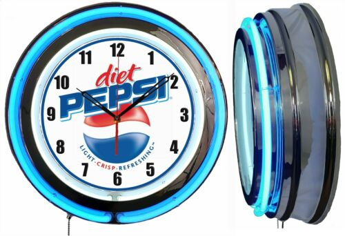 "Diet Pepsi 19"" Double Neon Clock Blue Neon Color Bar Man Cave Garage"