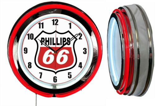 "Phillips 66 Gas Oil 19"" Double Neon Clock RED Neon Chrome Finish Man Cave Garage"