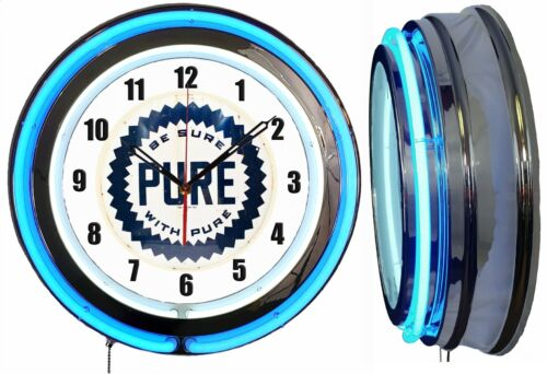 """PURE Gas Oil Be Sure with Pure 19"""" Double Neon Clock Blue Neon Man Cave Garage"""