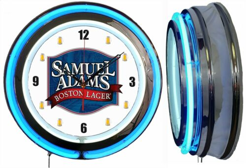 "Samuel Adams Boston Lager Beer 19"" Double Neon Clock Blue Sam Adams Man Cave Mug"