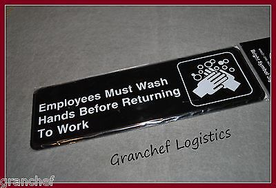 Employees Must Wash Hands Signs ~ 2 pieces ~ Easy Adhesive Hanging ~ New In Pkg. for sale  Shipping to India