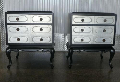 GROSFELD HOUSE HOLLYWOOD REGENCY SILVER LEAF & BLACK STAIN NIGHTSTANDS