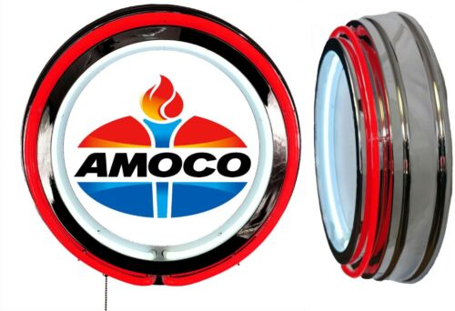 Amoco Oil Later Logo Sign, Neon Sign, RED Outside Neon, Chrome Shell, No Clock