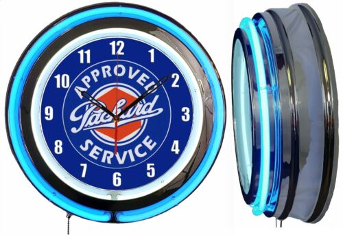 """Packard Approved Service 19"""" Double Neon Clock Blue Neon Man Cave Garage Shop"""