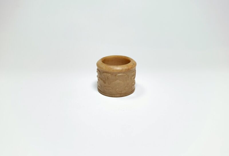 Chinese Antique Archaistic Jade Ban Zhi Archer Thumb Ring Scroll Motifs