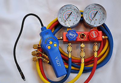 R410amanifold Gauge Set5ft Hosehalogen Refrigerant Leak Detectorsensor Hvac