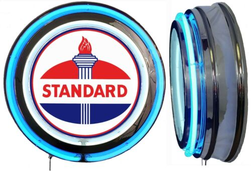 Standard Oil Early Logo Sign, Neon Sign Blue Outside Neon Chrome Shell No Clock