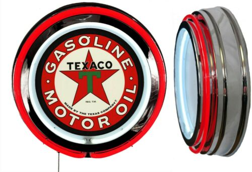 Texaco Gasoline Motor Oil Sign Neon Sign RED Neon Chrome Shell No Clock