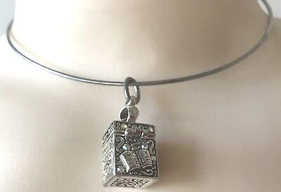 Locket Necklace Charm Prayer Box Rhinestones Silver Opens Gorgeous Gift Euc