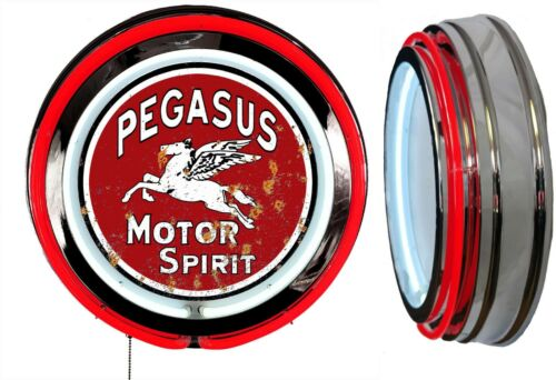 Pegasus Motor Spirit Sign DISTRESSED Rusty LOOK Sign Neon Sign RED Neon No Clock