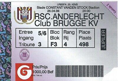 Ticket: Anderlecht - FC Bruges Club Brugge Championnat (26-4-98)