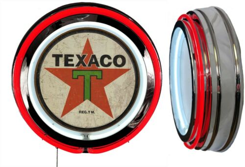 Texaco Oil Distressed Logo Sign Neon Sign RED Outside Neon Chrome Shell No Clock
