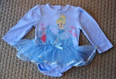 DISNEY STORE BABY Cinderella Princess Sparkle Tutu Long Sleeve Bodysuit