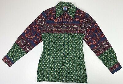 """1970s Mens Shirt Styles – Vintage 70s Shirts for Guys Vintage 1970s Men's """"Put On Shop"""" Teen Sears Linen 70s Pattern Shirt Size Small $39.99 AT vintagedancer.com"""