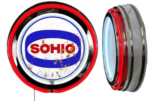 Sohio Gas N Oil Logo DISTRESSED Rusty LOOKING Sign Neon Sign RED Neon No Clock