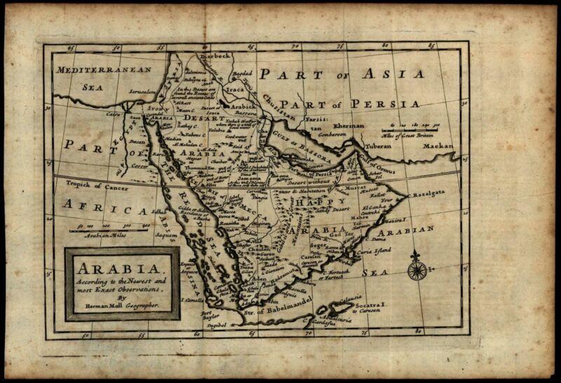 Arabian peninsula Mecca Middle East noting wells ruined cities 1712 Moll map