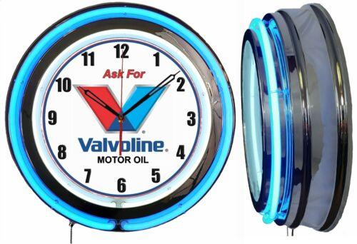"Ask for Valvoline 19"" Double Neon Clock Blue Neon Man Cave Garage Oil Change"