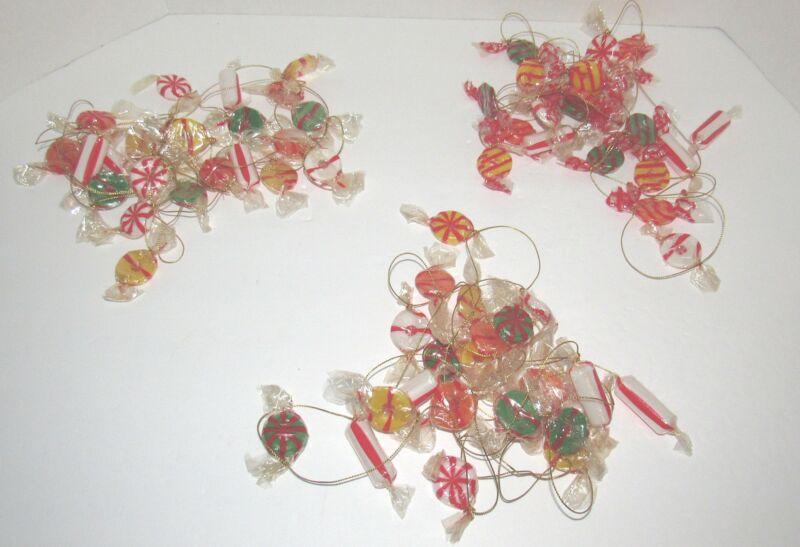 3 Strands Candy Lifesaver Garland Peppermint Christmas Blowmold Soft Plastic