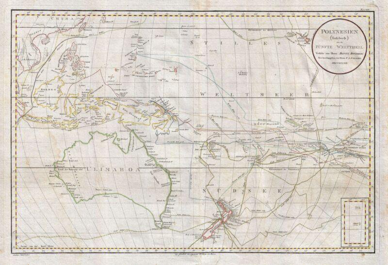 1789 Djurberg Map of Polynesia with indigenous name for Australia (Ulimaroa)