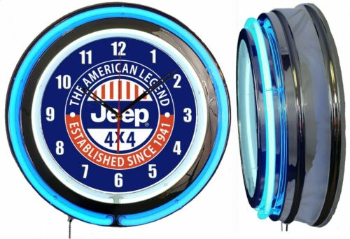 "JEEP 4X4 The American Legend SINCE 1941 19"" Blue Neon Clock Man Cave Garage Shop"