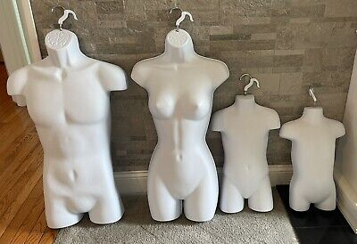 4 Hanging Dress Forms Mannequin Torsos - Male Female Child Toddler
