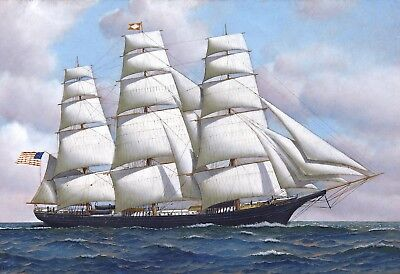- Flying Cloud US American Clipper Ship At Sea Oil Painting Large Canvas Print